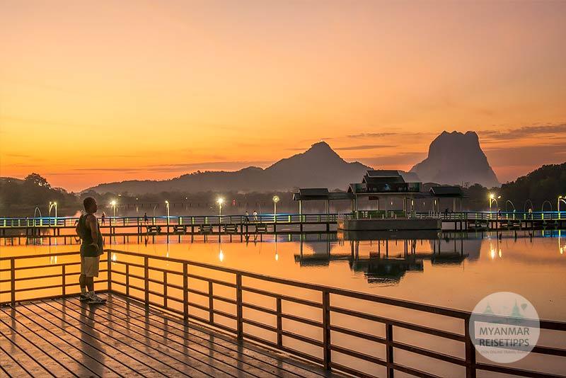 Myanmar Reisetipps | Hpa-an | Kantharyar-See kurz vor Sonnenaufgang