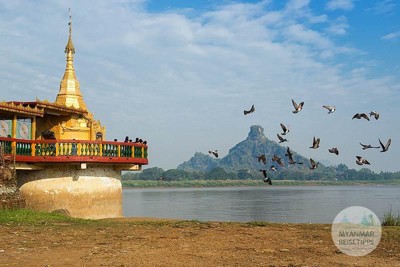 Myanmar Reisetipps | Hpa-an | Shwe-Yin-Myaw-Pagode am Thanlwin-Fluss