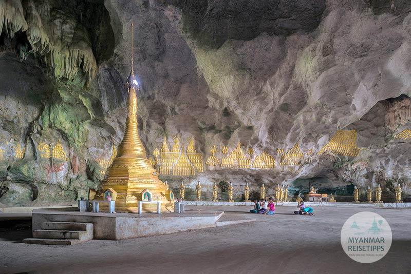 Myanmar Reisetipps | Hpa-an | Goldene Stupa in der Saddar-Höhle
