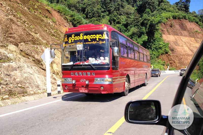 Myanmar Reisetipps | Einreise auf dem Landweg | Bus nach Yangon