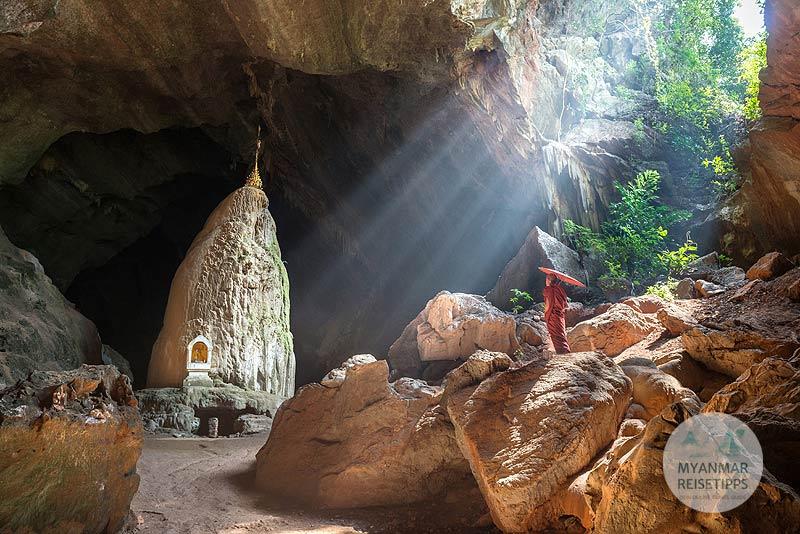 Myanmar Reisetipps | Hpa-an | Stalagmit in der Saddar-Höhle