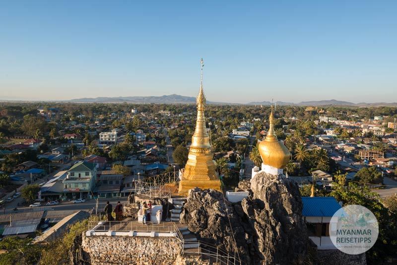 Myanmar Reisetipps | Loikaw | Blick Auf die Stadt von der Pagode Taung Kwe