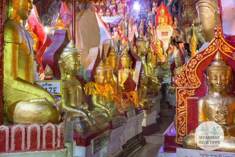 Myanmar Reisetipps | Pindaya | Goldene Buddha-Statuen sind in jeder Ecke der Höhle zu finden