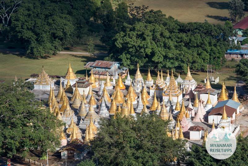 Myanmar Reisetipps | Pagodenfeld in der Näher der Banyan-Bäume