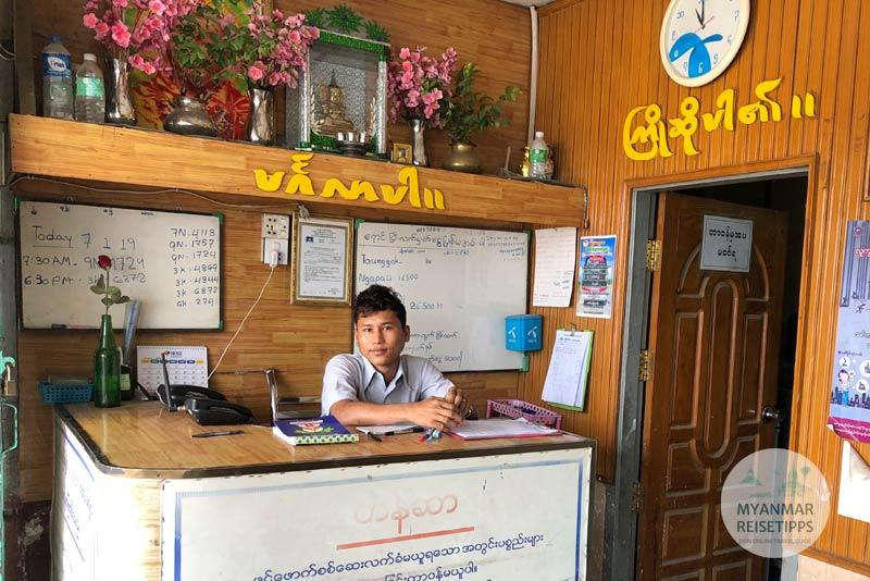 Myanmar Reisetipps | Pyay | Counter vom Busunternehmen Yoma Yarzar