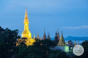 Myanmar Reisetipps | Pyay | Shwesandaw-Pagode am Abend