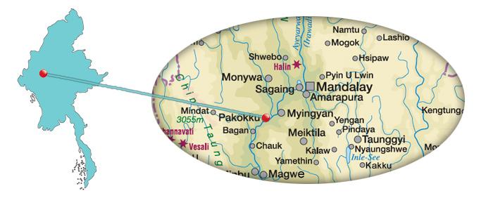 Myanmar - Karte Pakokku