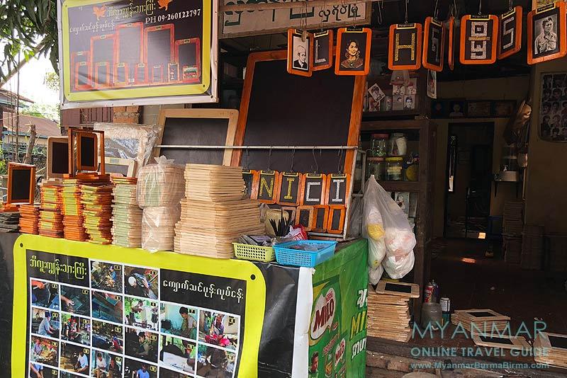 Myanmar Reisetipps | Insel Bilu Kyun | Verkauf von Schiefertafeln