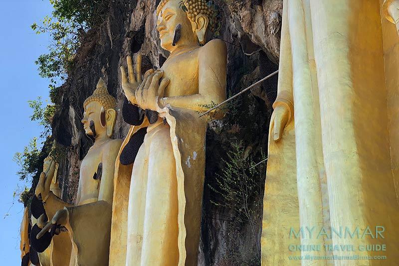 Myanmar Reisetipps | Kalaw | Buddha-Statuen mit Bienennester am Brave Woman Mountain