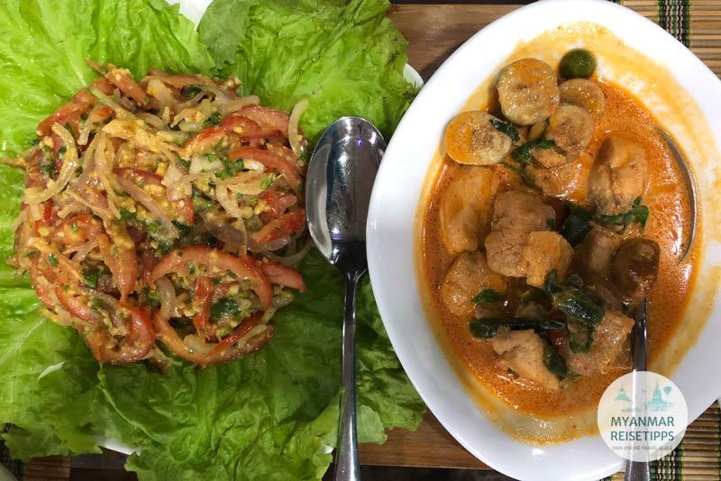 Myanmar Reisetipps | Loikaw | Tomatensalat und Red Thai Curry