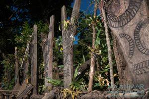 Myanmar Reisetipps | Mindat | Y-förmige Opferpfähle