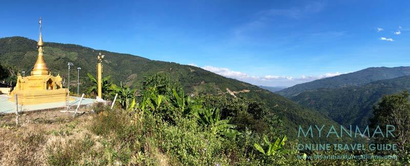 Myanmar Reisetipps | Kalaw | Gold-Pagode von An Laung. Im Tal fließt der Chit Chaung.