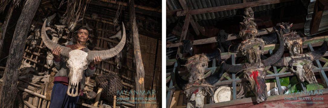 Myanmar Reisetipps | Mindat | Tierschädel an der Hauswand in Loute Pe