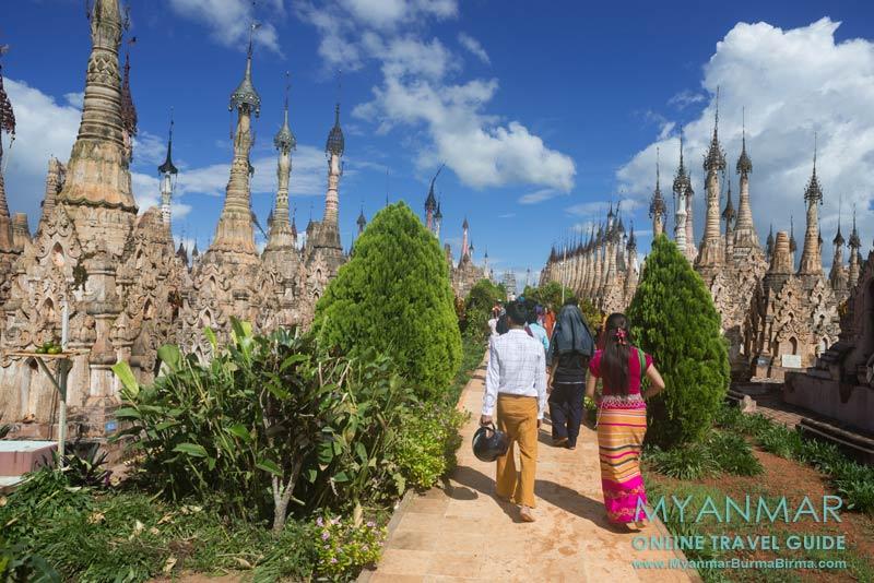 Myanmar Reisetipps | Kakku | Besucher im Pagodenfeld
