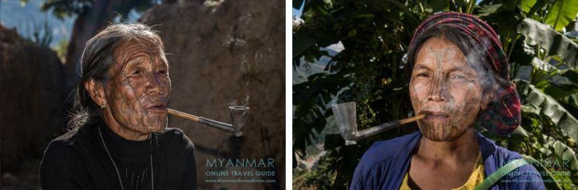 Myanmar Reisetipps | Mindat | Tattoo-Frauen im Chin-Dorf Pan Awet