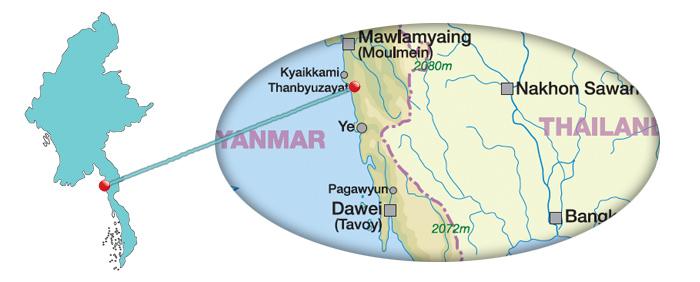 Myanmar - Karte für Thanbyuzayat
