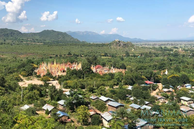 Myanmar Reisetipps | Inle-See | Blick vom Viewpoint am Gold-Stupa in Indein. Im Hintergrund: Hügel mit Pagoden ist der Aussichtspunkt Nr. 7.