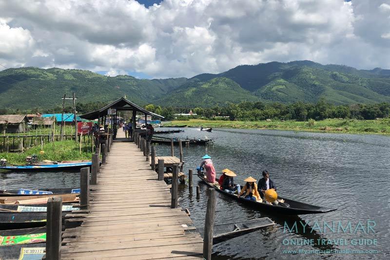 Myanmar Reisetipps | Inle-See | Maing Thauk: Holzbrücke in Richtung Shan-Berge (Ostseite)