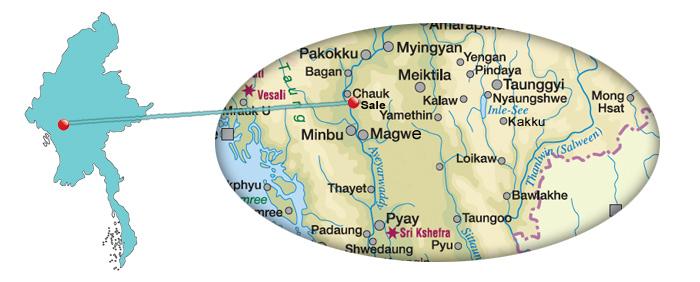Karte für Sale oder Salay in Myanmar