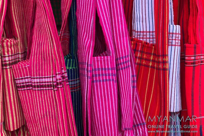 Myanmar Reisetipps | Umgebung von Kalaw | Gewebte Taschen der Pa-O-Ethnie