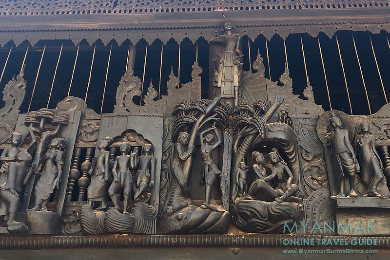 Myanmar Reisetipps | Sale | Holzskulpturen am Kloster Yoke Sone Kyaung