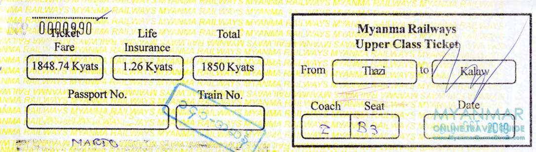 Bahnticket von Thazi nach Kalaw in Myanmar