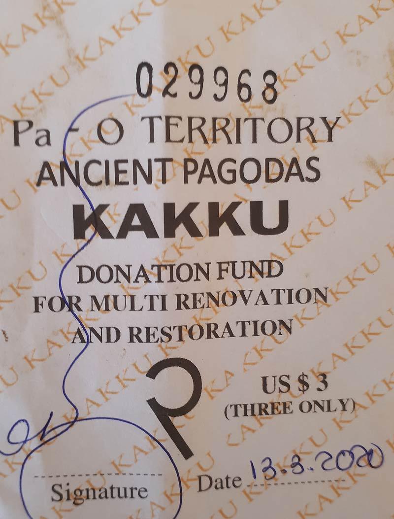 Myanmar Reisetipps | Kakku | Ticket| Foto: Andreas M.