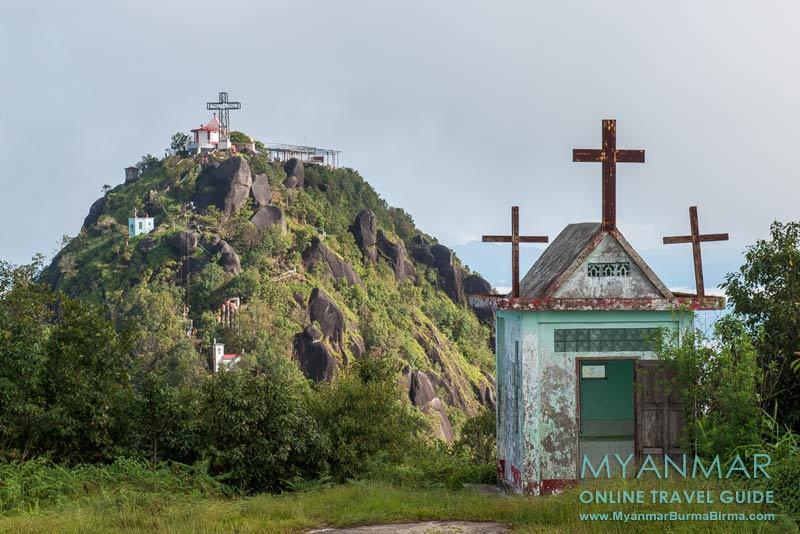 Myanmar Reisetipps | Thandaunggyi | Blick vom Karen New Year Hill auf den Naw Bu Baw Prayer Mountain