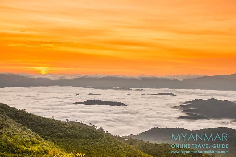 Myanmar Reisetipps | Thandaunggyi | Sonnenaufgang über dem Wolkenmeer