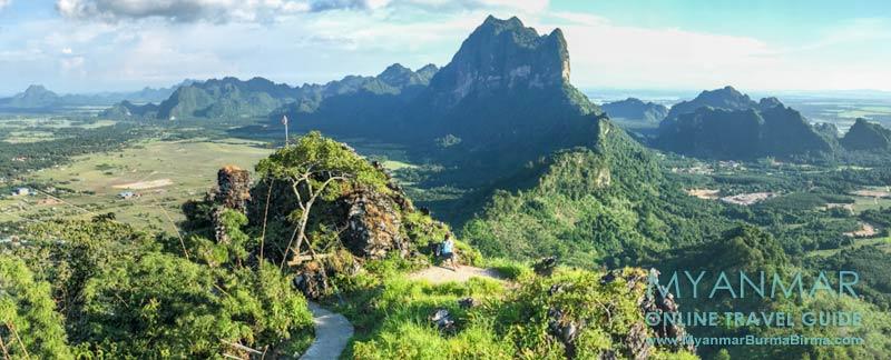 Myanmar Reisetipps | Hpa-an | Ausblick vom Berg Kyar Inn. Im Hintergrund die Karstformation mit Mt. Zwekabin