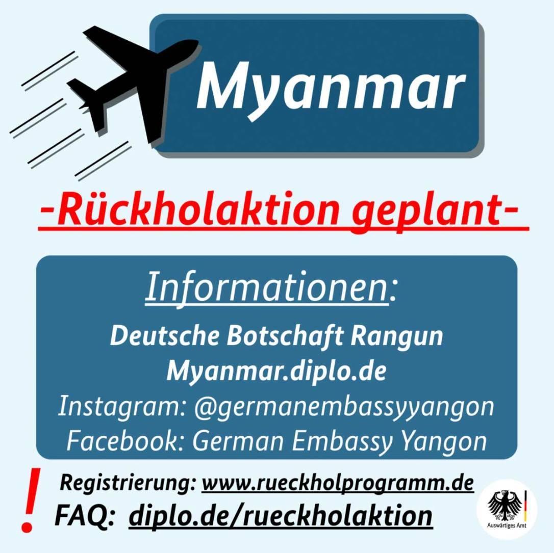 Bundesregierung holt während der Coronakrise mit der Fluggesellschaft Condor deutsche Touristen aus Yangon ab.
