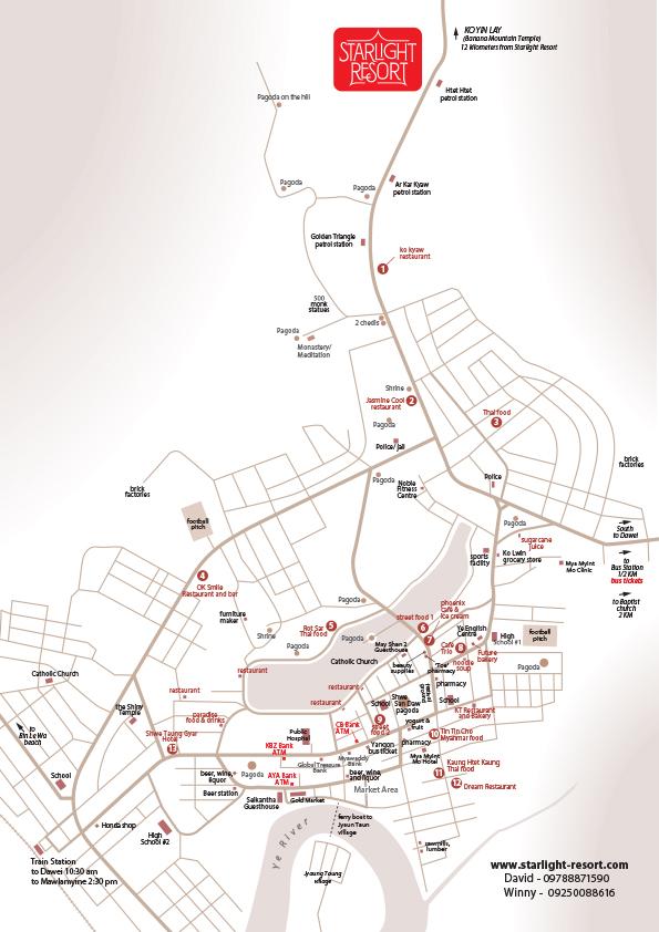 Myanmar Reisetipps | Karte von Ye | Dieser Stadtplan wurde von David (Starlight Resort) erstellt und für MYANMAR REISETIPPS zur Verfügung gestellt.