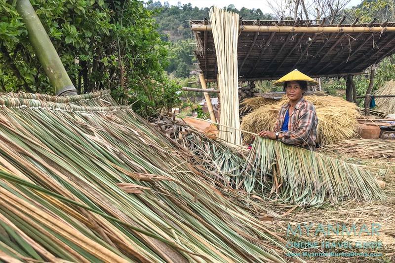 Myanmar Reisetipps | Hsipaw | Herstellung einer Dachabdeckung in Pankam